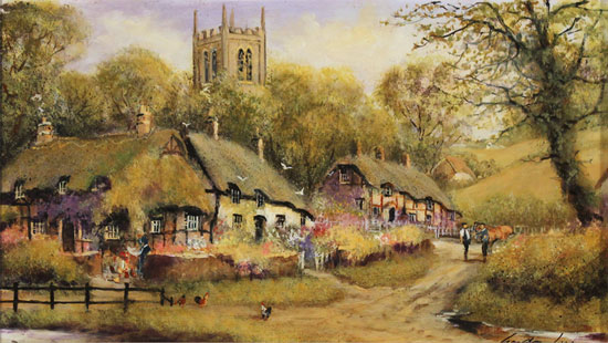 Gordon Lees, Original oil painting on panel, A Summer Evensong No frame image. Click to enlarge