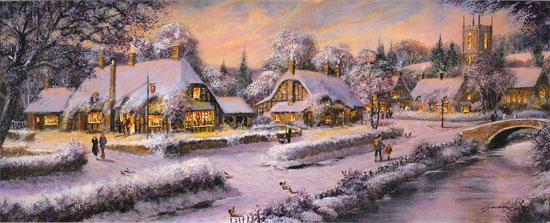 Gordon Lees, Original oil painting on panel, A Snowy Winter's Eve, The Cotswolds No frame image. Click to enlarge
