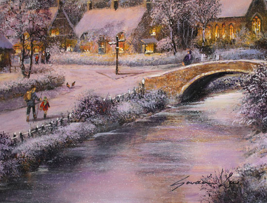 Gordon Lees, Original oil painting on panel, A Snowy Winter's Eve, The Cotswolds Signature image. Click to enlarge