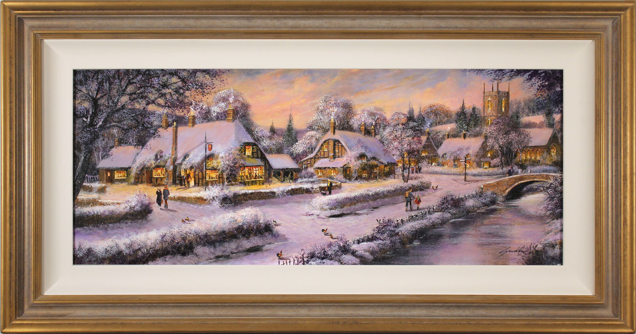 Gordon Lees, Original oil painting on panel, A Snowy Winter's Eve, The Cotswolds Click to enlarge