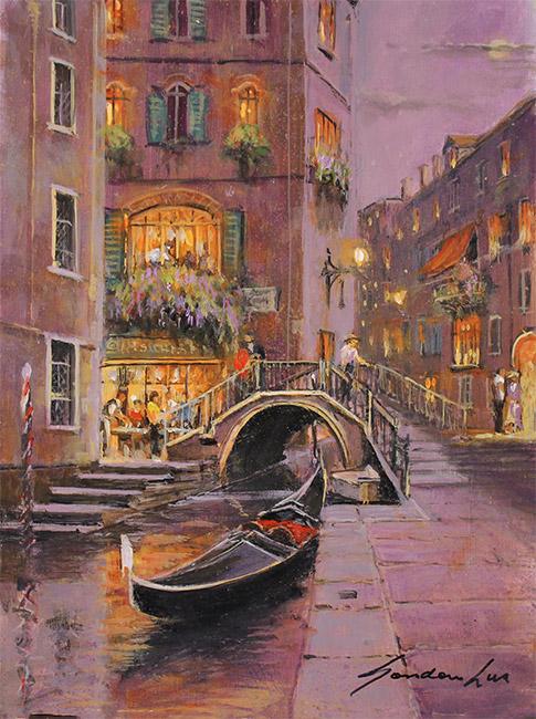 Gordon Lees, Original oil painting on panel, Venetian Twilight  No frame image. Click to enlarge