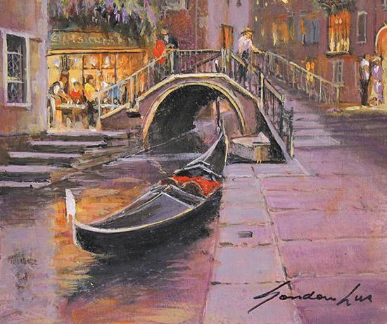 Gordon Lees, Original oil painting on panel, Venetian Twilight  Signature image. Click to enlarge