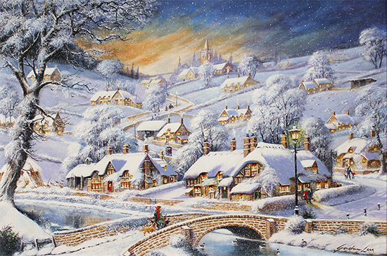 Gordon Lees, Original oil painting on panel, Snowfall and Starry Skies No frame image. Click to enlarge