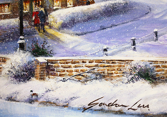 Gordon Lees, Original oil painting on panel, Snowfall and Starry Skies Signature image. Click to enlarge