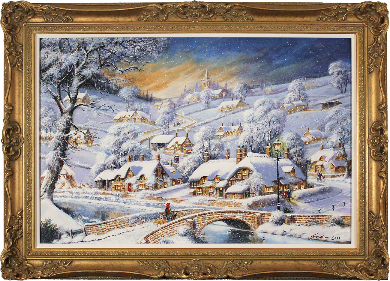 Gordon Lees, Original oil painting on panel, Snowfall and Starry Skies Click to enlarge