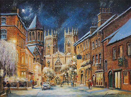 Gordon Lees, Original oil painting on panel, A Winter's Eve, York Minster  No frame image. Click to enlarge