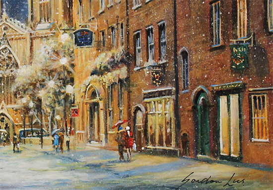 Gordon Lees, Original oil painting on panel, A Winter's Eve, York Minster  Signature image. Click to enlarge