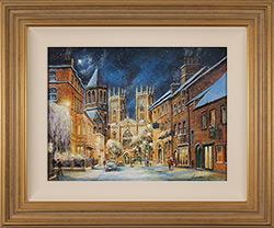 Gordon Lees, Original oil painting on panel, A Winter's Eve, York Minster  Medium image. Click to enlarge