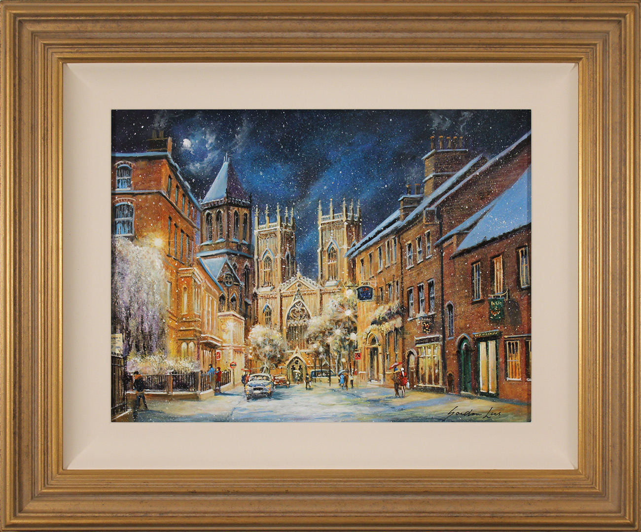 Gordon Lees, Original oil painting on panel, A Winter's Eve, York Minster  Click to enlarge