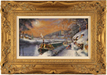 Gordon Lees, Original oil painting on panel, Canal Boat on the River Avon in Winter, The Cotswolds