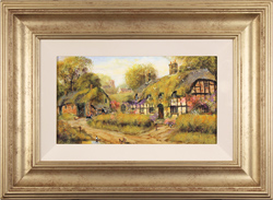 Gordon Lees, Original oil painting on panel, Wisteria Cottage, The Cotswolds