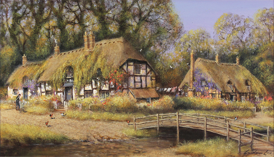 Gordon Lees, Original oil painting on canvas, Summer Days in Ivy Cottages No frame image. Click to enlarge