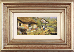 Gordon Lees, Original oil painting on panel, Life in the Village