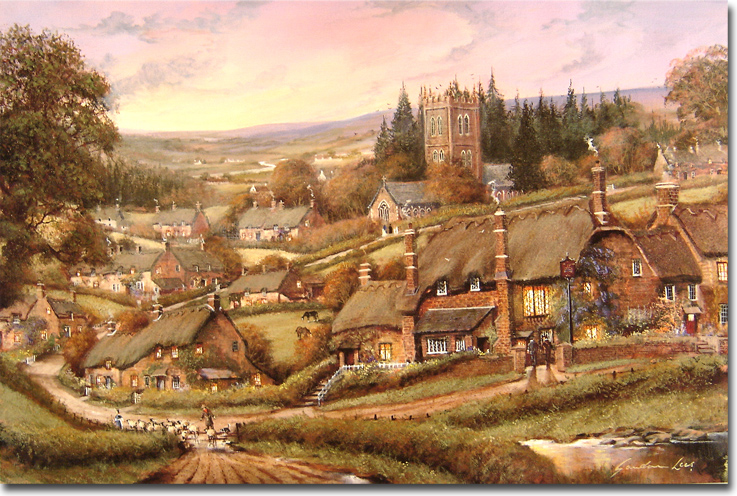 Gordon Lees, Signed limited edition print, Cotswolds Village Click to enlarge