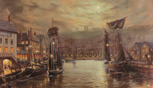 Gordon Lees, Signed limited edition print, Whitby Harbour No frame image. Click to enlarge