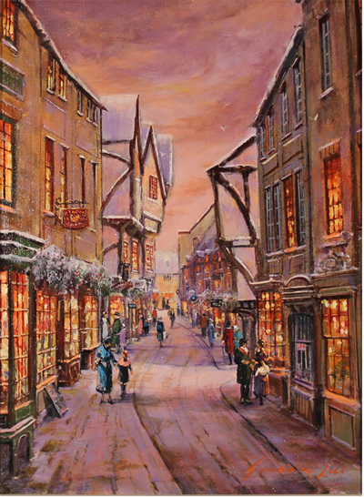 Gordon Lees, Original oil painting on canvas, The Shambles, York No frame image. Click to enlarge
