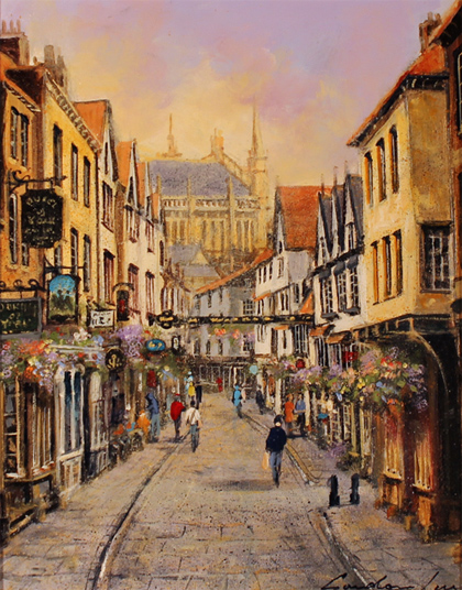 Gordon Lees, Original oil painting on canvas, Stonegate, York No frame image. Click to enlarge