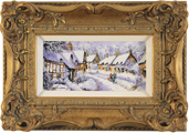 Gordon Lees, Original oil painting on panel, Cotswolds Village in Snow
