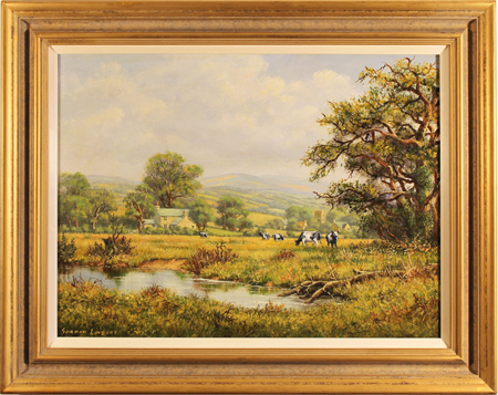Gordon Lindsay, Original oil painting on canvas, Landscape with Cows
