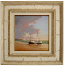 Graham Petley, Original oil painting on panel, Boats on Shore
