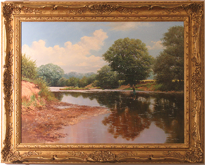 Graham Petley, Original oil painting on canvas, Fisherman on River