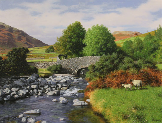 Howard Shingler, Original oil painting on panel, Overbeck Bridge, Wastwater No frame image. Click to enlarge