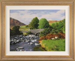 Howard Shingler, Original oil painting on panel, Overbeck Bridge, Wastwater