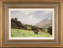 Howard Shingler, Original oil painting on panel, Towards Patterdale from Blowick, Ullswater