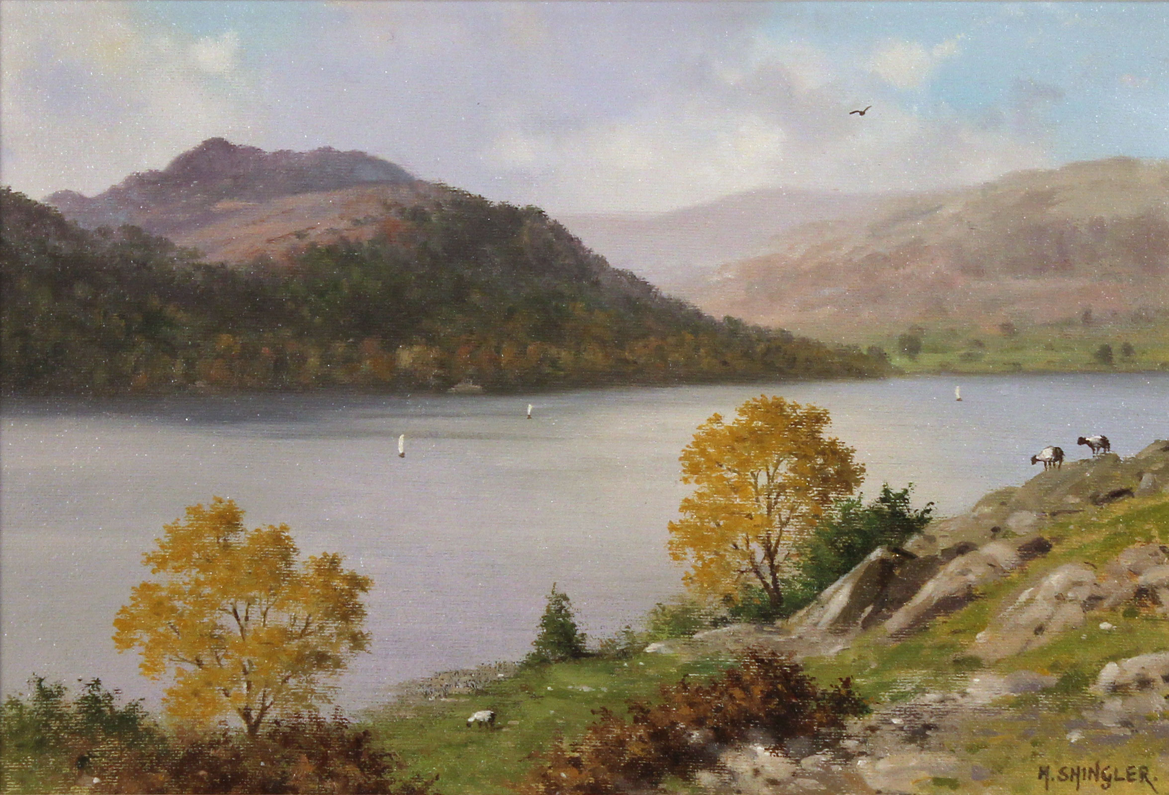 Howard Shingler, Original oil painting on panel, Sheffield Pike from Silver Point, Ullswater No frame image. Click to enlarge