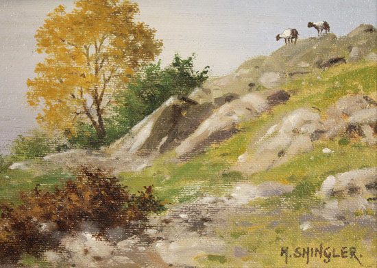 Howard Shingler, Original oil painting on panel, Sheffield Pike from Silver Point, Ullswater Signature image. Click to enlarge