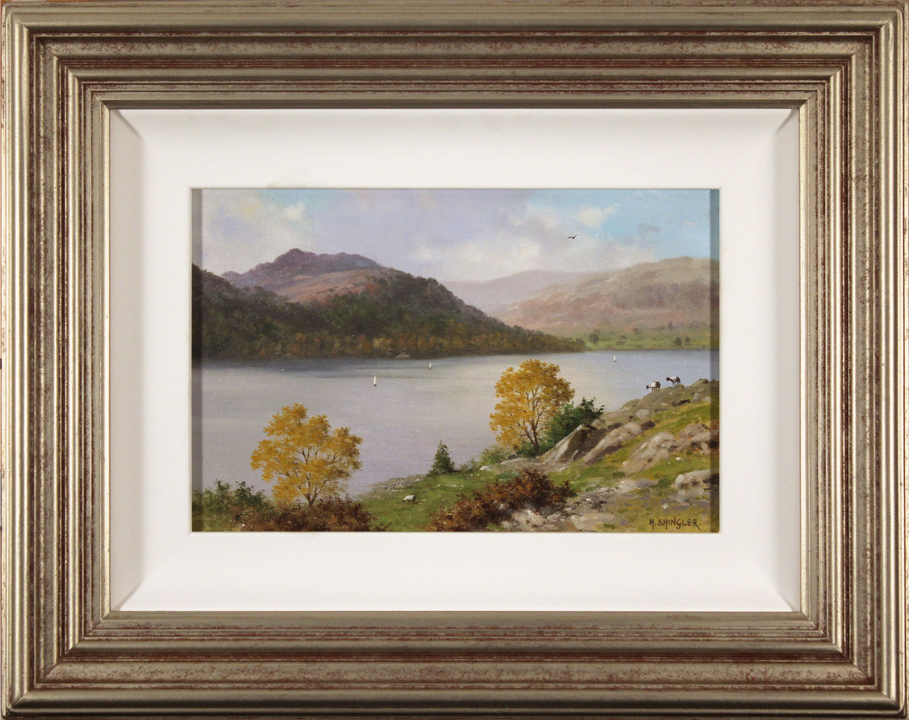 Howard Shingler, Original oil painting on panel, Sheffield Pike from Silver Point, Ullswater Click to enlarge