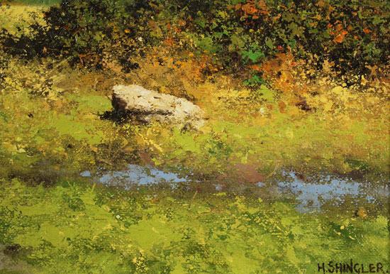 Howard Shingler, Original oil painting on panel, Grassmoor, Rannerdale Signature image. Click to enlarge