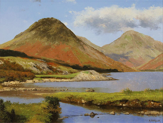 Howard Shingler, Original oil painting on panel, Yewbarrow from Wastwater