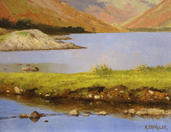 Howard Shingler, Original oil painting on panel, Yewbarrow from Wastwater Signature image. Click to enlarge