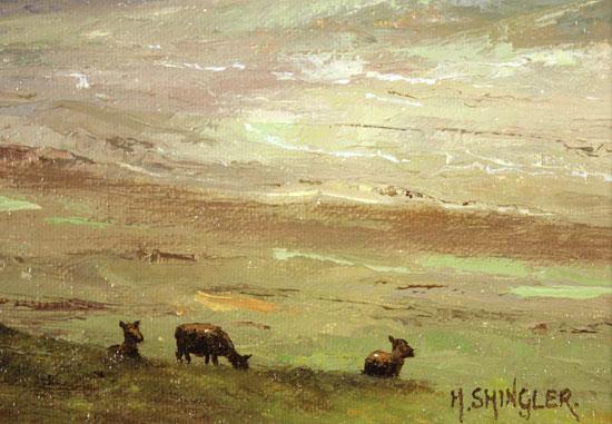 Howard Shingler, Original oil painting on panel, North Highlands Signature image. Click to enlarge