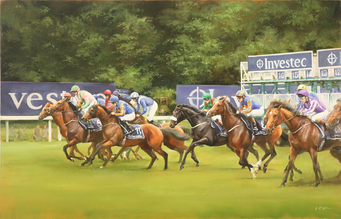 Jacqueline Stanhope, Original oil painting on canvas, Epsom Derby Start, 2016 Click to enlarge