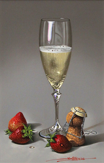 Javier Mulio, Original oil painting on panel, Strawberries and Champagne