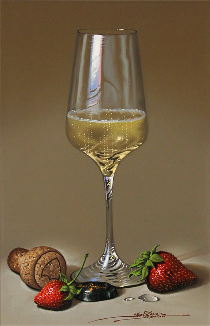 Javier Mulio, Original oil painting on panel, Strawberries and Champagne No frame image. Click to enlarge
