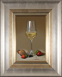 Javier Mulio, Original oil painting on panel, Strawberries and Champagne Medium image. Click to enlarge