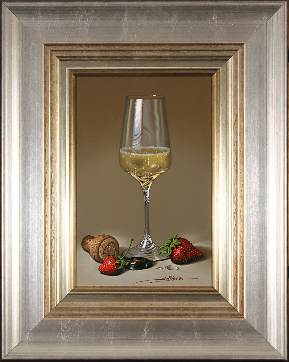 Javier Mulio, Original oil painting on panel, Strawberries and Champagne Click to enlarge