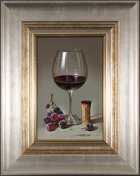 Javier Mulio, Original oil painting on panel, Glass of Spanish Red Medium image. Click to enlarge