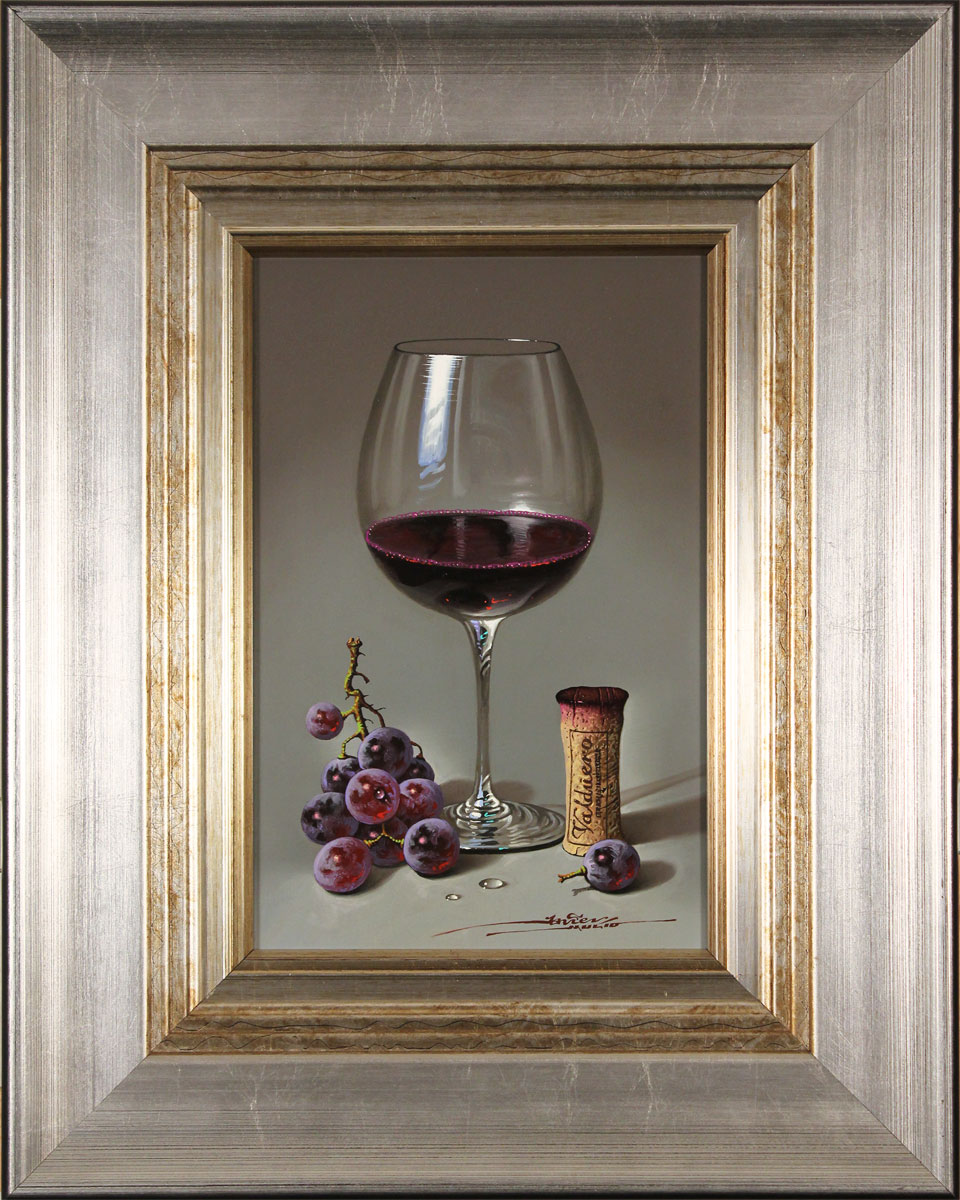 Javier Mulio, Original oil painting on panel, Glass of Spanish Red Click to enlarge