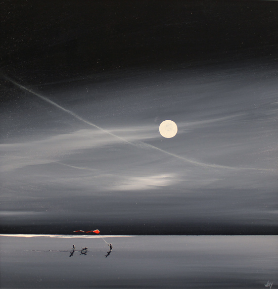 Jay Nottingham, Original oil painting on panel, Moonlight Kite No frame image. Click to enlarge