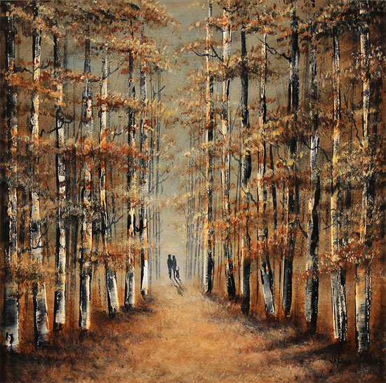 Jay Nottingham, Original oil painting on panel, A Walk in the Wood No frame image. Click to enlarge