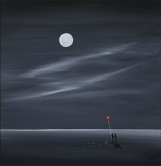 Jay Nottingham, Original oil painting on panel, Shoreline Sweethearts No frame image. Click to enlarge