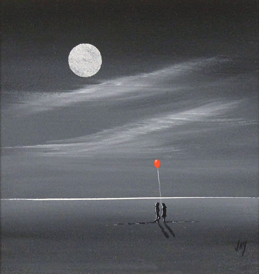 Jay Nottingham, Original oil painting on panel, Moonlight Meeting No frame image. Click to enlarge