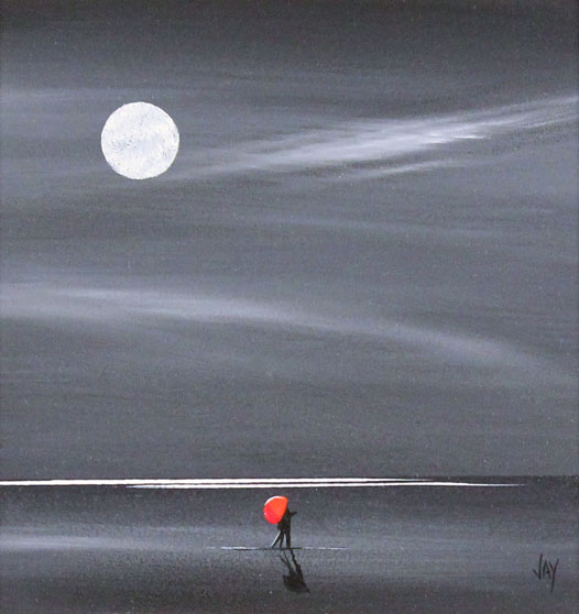 Jay Nottingham, Original oil painting on panel, Moonlight Kiss No frame image. Click to enlarge