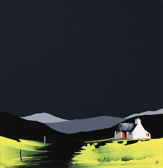 Jay Nottingham, Original oil painting on panel, Harvest Cottage No frame image. Click to enlarge