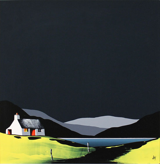 Jay Nottingham, Original oil painting on panel, Rainbow's End Cottage No frame image. Click to enlarge