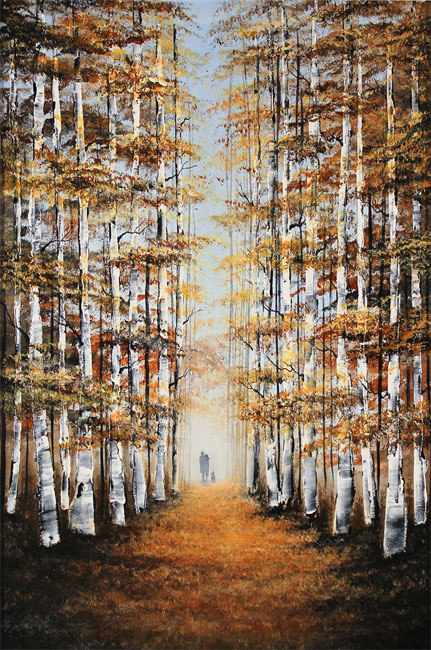 Jay Nottingham, Original oil painting on panel, Autumn Canopy No frame image. Click to enlarge